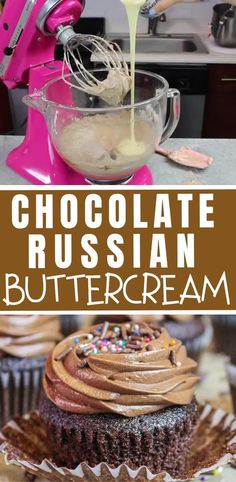 This chocolate Russian buttercream uses only 5 ingredients! It's secret ingredient is sweetened condensed milk which gives it a silky smooth consistency Milk Chocolate Frosting Recipe, Cake Frosting Recipe, Chocolate Fondant, Frosting Recipes, Modeling Chocolate, Frosting Tips, Dessert Recipes, Desserts, Sweet Condensed Milk