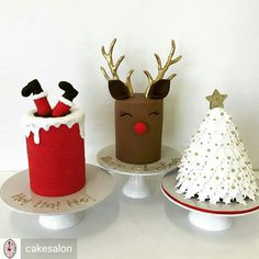Santa, reindeer or Christmas tree Christmas Cake Designs, Christmas Cupcakes, Christmas Sweets, Christmas Cooking, Noel Christmas, Holiday Cakes, Holiday Desserts, Holiday Baking, Holiday Treats