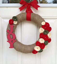 "Could do all different words representing the season, Joy, Faith, Noel….Joy Burlap Christmas Wreath, Holiday Wreath, Winter Wreath, Burlap Wreath, Christmas Decor, Holiday Mantel, Felt Flower Wreath,  Wreath, 10""..."