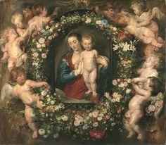 Madonna im Blumenkranz (c. 1616-18) (Rubens with Jan Brueghel the Elder), Alte Pinakothek, Munich