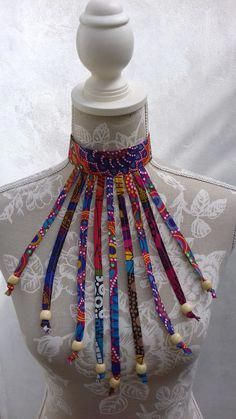 Spectrum Spiral Africanprint Beaded Fabric Necklace - Women's style: Patterns of sustainability African Fashion Designers, Latest African Fashion Dresses, African Print Dresses, African Print Fashion, African Wear, African Prints, African Style, Africa Fashion, Diy African Jewelry