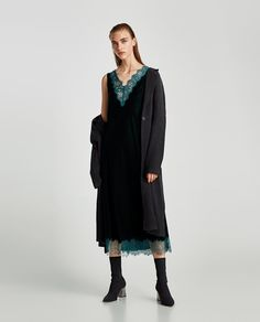 Image 1 of VELVET DRESS WITH LACE from Zara