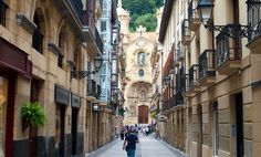 Overview of Old Town of San Sebastian, Spain