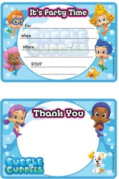 Bubble Guppies party invitations printable and free