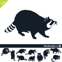 Racoon vector silhouettes