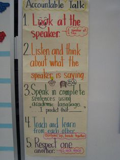"""""""Accountable Talk"""" for productive group work: Guidelines for collaborative group work Classroom Themes, School Classroom, School Fun, Classroom Organization, Classroom Management, Math Workshop, Readers Workshop, Talk Moves, Ela Anchor Charts"""