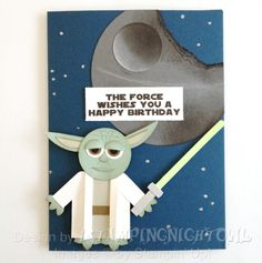 SUO Punch Art Yoda by - Cards and Paper Crafts at Splitcoaststampers Punch Art Cards, Craft Punches, Hand Stamped Cards, Owl Punch, Star Wars Party, Thing 1, Masculine Cards, Cool Cards, Kids Cards