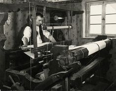 Weaver from Schrecksbach at the loom, 1936