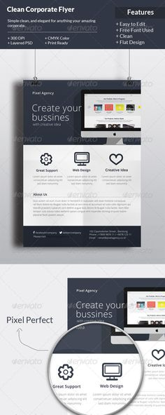 Flat Corporate Flyer Template — Photoshop PSD #developer website #advertisement • Available here → https://graphicriver.net/item/flat-corporate-flyer-template/6596005?ref=pxcr