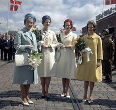 Queen Ingrid with her daughters Princess Margrethe (Queen Margrethe of Denmark), Princess Benedikte and Princess Anne-Marie (Queen Anne-Marie of Greece).