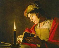 Matthias Stomer, « Jeune homme lisant à la lumière de la chandelle », vers 1640, Nationalmuseum Stockholm.