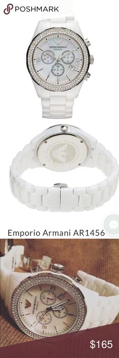 """Emporio Armani Ceramic Watch AR1456 Women's white ceramic Emporio Armani watch. Has two rows of Swarovski crystals around the bezel, mother of pearl face, and chronograph feature. Watch is NEW with defects. Never warn, new with tags! However, the chronograph (stopwatch function) resets to the """"10"""" hand instead of """"12"""" hand. Battery works, everything is in excellent condition! Original AR box not included. Authentic. No trades! Emporio Armani Accessories Watches"""
