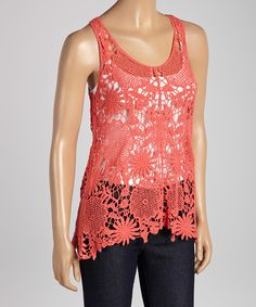 Coral Crocheted Tank