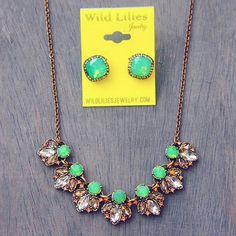 Sweet and colorful, this mint stone statement necklace will definitely add some sparkle to your look. Put this necklace on and get ready for some compliments! #statementnecklace #women #fashion #jewelry #necklace #mint