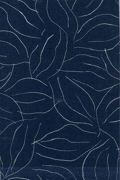 Motif : feuillage, lignes, bleu sombre