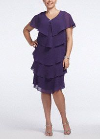 Stylish and chic short pebble georgette tiered dress is perfect for a Mother of the Bride or other special guest and has great wear-again potential!  Cap sleeve bodice features eye-catching and chic V neckline.  All over pebble georgette tiered fabric detail helps create a flattering silhouette.  Fully lined. Imported polyester. Professional spot clean. Available in Missy sizes as Style 6206.