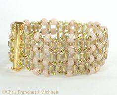 ght-Angle Weave Bracelet Pattern - Golden Pink tutorial
