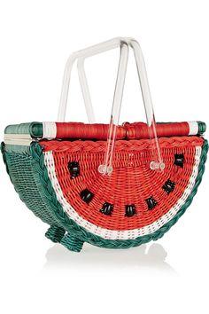 "Charlotte Olympia ""Watermelon Basket"" straw tote : http://us.charlotteolympia.com/spring-17/watermelon-basket/S173136WKP1376.html"