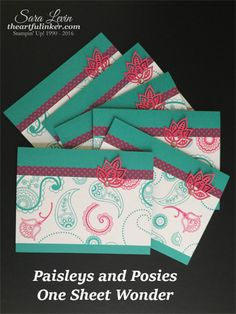 Sara Levin   theartfulinker.com Quick and easy One Sheet Wonder featuring Paisleys and Posies ( Stampin' Up! ). Click for details!