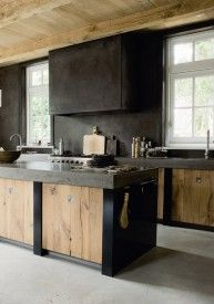 Industrial style kitchen ~ black & wood cabs'
