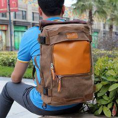 Men's Large Capacity Canvas Backpack Rucksack Laptop Shoulder Travel Camping Bag