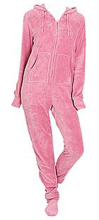 The Pajama Company :: Pajamas :: Women's Pajamas :: Footed Pajamas :: Big Feet Pajamas Adult Pink Plush Hooded One Piece Footy