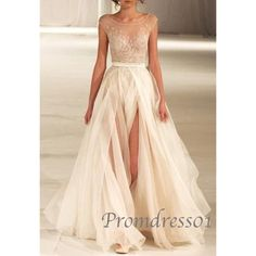 2015 white lace high neck front slit long prom dress for teens, wedding dress,ball gown #promdress #weddings