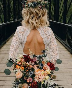 fall bohemian wedding style. lace wedding dress with open back