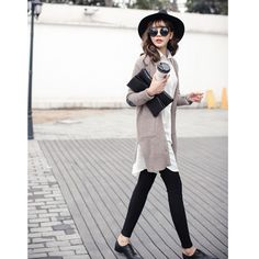 2015 new spring women wild in a simple V-neck long-sleeved long section knit cardigan A086F USD$25.87