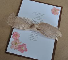 Pink and Brown Rustic Invite
