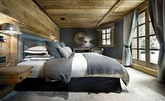 Le Petit Chateau Luxus-Ski-Chalet in Courchevel 1850 - Dekoration Chalet Interior, Interior Design, Ski Chalet Decor, Design Interiors, Chalet Design, Chalet Style, House Design, Lodge Style, Home Bedroom