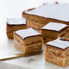 Caramel ginger slice recipe from Cuisine Magazine No Bake Treats, Yummy Treats, Sweet Treats, Just Desserts, Dessert Recipes, Ginger Slice, Sweet Pie, Wine Recipes, Bar Recipes
