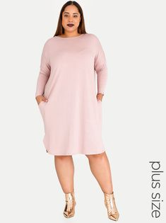 6632701af3c STYLE REPUBLIC PLUS 3 4 Sleeve T-shirt Dress with Pockets Pale Pink Bouncers