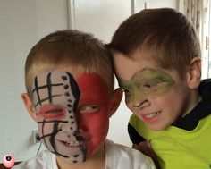 Make some Superheroes villains with face paint - Cyborg and the Green Lantern