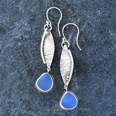 Sea Glass Jewelry Earrings in Cornflower Blue by MonicaBranstrom