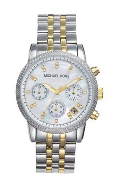 Michael Kors Mother of Pearl Chronograph watch - hella cute! Saving up for this!!!! :D