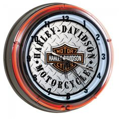 Harley Davidson Diamond Plate Neon Clock - This great harley wall clock features…