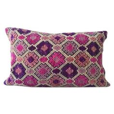 Vintage Chinese Embroidered Lumbar Pillow ($110) ❤ liked on Polyvore featuring home, home decor, throw pillows, pillows, fillers, purple accent pillows, pink toss pillows, pink home decor, purple throw pillows and lumbar throw pillow