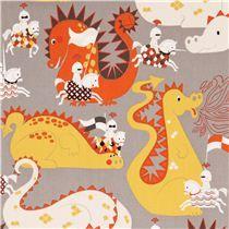 Tissu gris Alexander Henry série contes de fées avec des dragons, des chevaliers