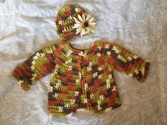Baby Sweater and Hat Crochet Set Fall Autumn Organic by BabyRaggz