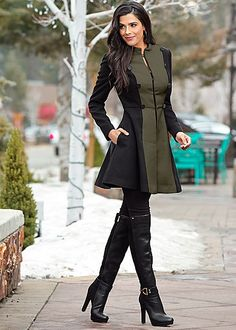 Women's Colorblock military coat, jegging, boot. Like the green or white.