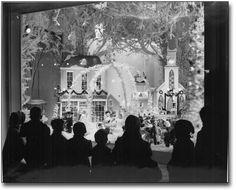 Children looking at Christmas window display, Eatons, Toronto, Ontario, Canada. Christmas Window Display, Christmas Store, Christmas Past, Retro Christmas, Before Christmas, All Things Christmas, Christmas Decorations, Christmas Windows, Christmas Displays