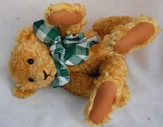 """Artist Teddy Bear Curly gold Mohair Linda Spiegel Bearly There 20"""" Antique Style #BearlyThere #AllOccasion"""