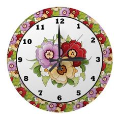 Fun Floral cartoon wall clock