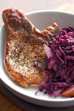 This quick and easy 30-minute pork chop recipe incorporates red cabbage and pears to create the ultimate comfort food meets fall recipe. Whether you're eating this pork chop recipe as a quick and easy weeknight dinner or packing it for lunch the next day, it's a great choice for a pear recipe.#porkchops #porkchoprecipes #fallrecipes #comfortfood #pearrecipes