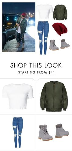 """BTS Jungkook"" by leticia-mansano on Polyvore featuring moda, Rosetta Getty, WearAll, Topshop, Timberland e Halogen"