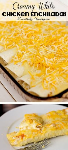 Creamy White Chicken Enchiladas  - perfect for those who don't love spicy yet you can easily have enchilada sauce that people can add on top... keep everyone happy!