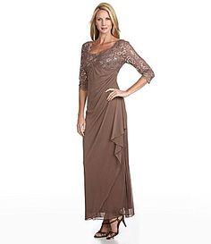 Alex Evenings Beaded Lace-Bodice Gown | Dillards.com- latte- $140