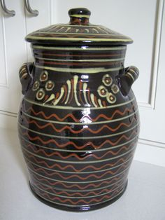 Antique Primitive Redware Glazed Pot Jar Pottery Lithuania