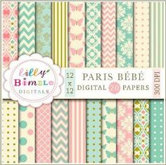 off sale PARIS BEBE digital papers in teal and salmon pink, modern scrapbook papers for cards, crafts and design elegant Digital Downloa Free Scrapbook Paper, Free Digital Scrapbooking, Digital Papers, Scrapbook Layouts, Scrapbook Templates, Vintage Scrapbook, Scrapbooking Ideas, Balloon Clipart, Motifs Roses